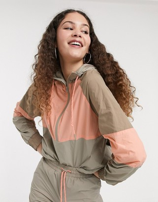 Monki hooded jacket with contrast piping in colour block