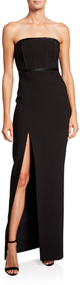 LIKELY Thoma Satin Piped Bustier Column Gown with Side Slit