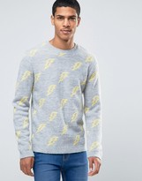Asos Sweater with Lightning Bolts in Fluffy Yarn