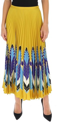 Valentino Printed Pleated Midi Skirt