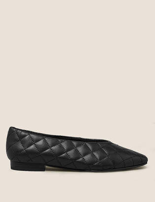 Marks and Spencer Leather Quilted Chisel Toe Ballet Pumps