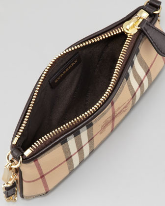Burberry Small Haymarket-Check Shoulder Bag, Chocolate