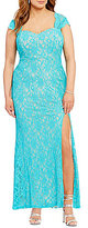 Jodi Kristopher Plus Glitter Lace Long Dress