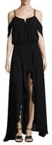 Nicole Miller Georgette Embellished Strap Maxi Dress