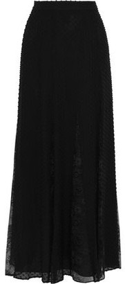 Alice + Olivia Athena Lace-paneled Fil Coupe Silk And Cotton-blend Maxi Skirt