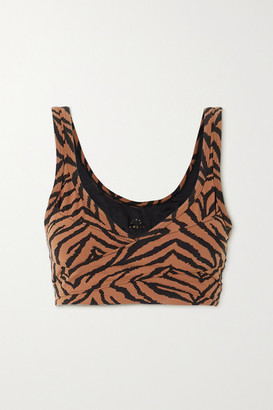 Varley Kellam Wrap-effect Zebra-print Stretch Sports Bra
