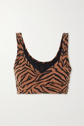 Varley Kellam Wrap-effect Zebra-print Stretch Sports Bra - Brown