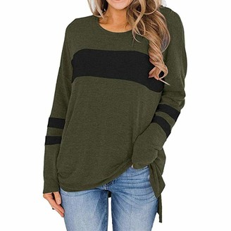 KBUY Womens Color Block Long Sleeve Crewneck T Shirt Sweatshirt Tops Autumn Winter Women Long Sleeve Tshirts Ladies Jumpers Baseball Tops Round Neck Striped Pullover S-2XL