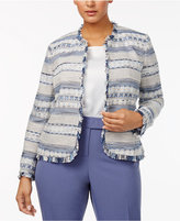 Anne Klein Plus Size Open-Front Tweed Blazer