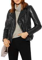 Karen Millen Topstitched Leather Biker Jacket