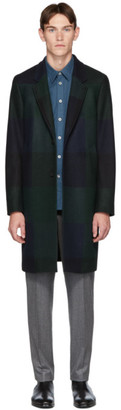Paul Smith Navy and Green Check Two-Button Epsom Coat