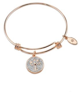 "Unwritten My Family my Love"" Tree Crystal Adjustable Bangle Bracelet in Rose Gold-Tone Stainless Steel"