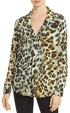 Karen Kane Leopard Print Half Placket Shirt