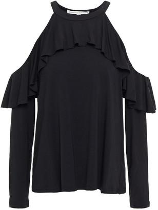 Rebecca Minkoff Cold-shoulder Ruffled Stretch-jersey Top