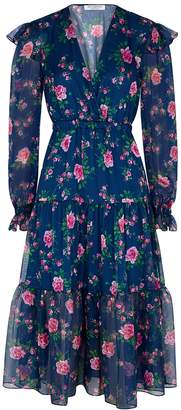 Philosophy di Lorenzo Serafini Blue floral-print chiffon midi dress