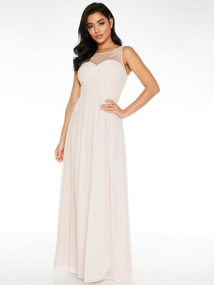 Quiz Chiffon High Neck Embellished Yoke Bridesmaid Maxi Dress - Pink