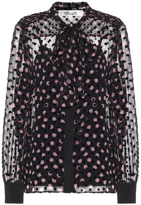 Diane von Furstenberg Minnie silk-blend devore blouse