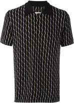 Maison Margiela patterned open knit polo shirt - men - Cotton/Polyamide - L