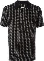 Maison Margiela patterned open knit polo shirt