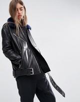 Asos Leather Biker With Detachable Faux Fur Collar