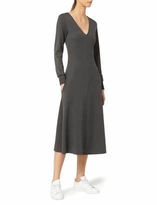 Meraki Women's A-line V-neck Midi Dress with Pockets