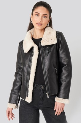 NA-KD Raw Edge Cropped Aviator Jacket Black