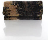 Moyna Brown Black Beaded Material Zipper Flap Closure Clutch Handbag