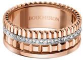 Boucheron 18K Pink Gold Band Ring with Diamonds, Size 54