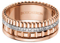 Boucheron 18K Pink Gold Band Ring with Diamonds, Size 54