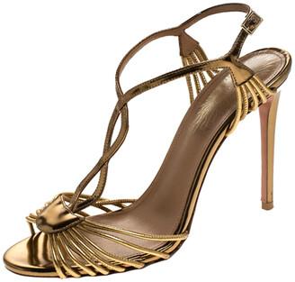 Aquazzura Aquazurra Metallic Gold Leather Josephine Ankle Strap Sandals Size 38