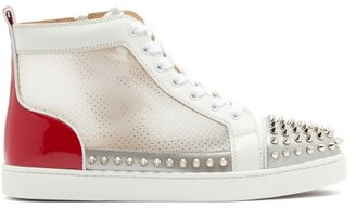 Christian Louboutin Donna Studded Leather And Mesh High-top Trainers - White Multi