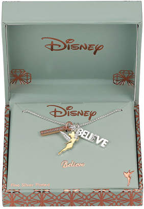 Disney Collection Crystal Pure Silver Over Brass 18 Inch Box Tinker Bell Pendant Necklace