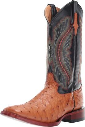Ferrini Men's Full Quill Ostrich Western Boot Cognac 10.5 2E US