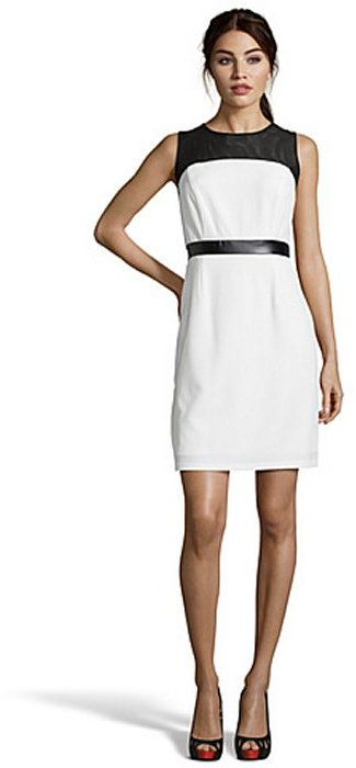 SD Collection ivory and black crepe and mesh sleeveless dress