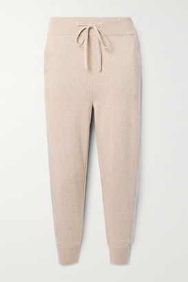 HANDVAERK Striped Pima Cotton And Cashmere-blend Track Pants - Beige