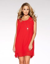 Quiz Frill Shoulder Necklace Tunic Dress