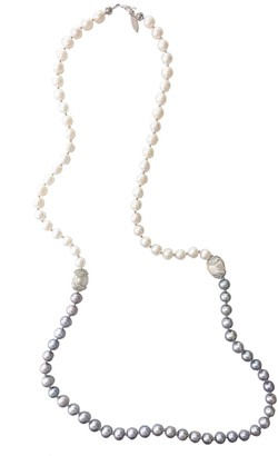 Farra White & Grey Freshwater Pearls Multi-Way Necklace