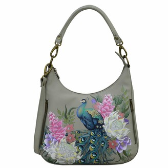 Anuschka Womens Genuine Leather Convertible Slim Hobo With Crossbody Strap - Hand Painted Exterior - Regal Peacock
