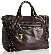 purple cracked goatskin studded medium tote