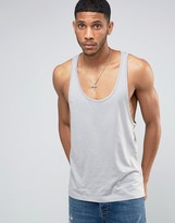 Asos Extreme Racer Back Tank In Gray