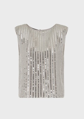 Emporio Armani Silk Top Covered In Alternating Sequins