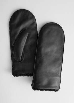 And other stories Leather Faux Shearling Mittens