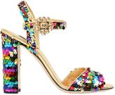 Dolce & Gabbana 90mm Bianca Sequined Leather Sandals