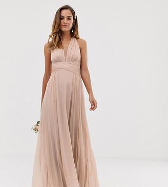 ASOS DESIGN Bridesmaid ruched bodice drape maxi dress with wrap waist
