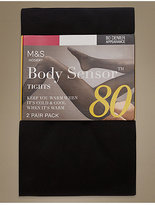 M&S Collection 2 Pair Pack 80 Denier Body SensorTM Opaque Tights