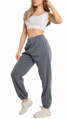 Elite Pleasure Womens Fleece Casual Oversized Jogging Joggers Ladies Cuffed Tracksuit Bottoms