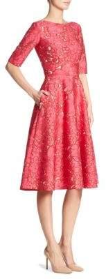 Lela Rose Elbow-Length Sleeve Dress