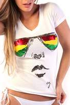 Cooyah I SEE YOU Rasta Glasses Ladies T-shirt