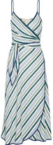 Tory Burch Villa Striped Satin-twill Wrap Dress - Blue