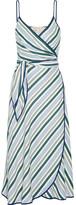 Tory Burch Villa Striped Satin-twill Wrap Dress - US12